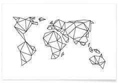 Geometrische Erde als Premium Poster von Eulenschnitt   JUNIQE
