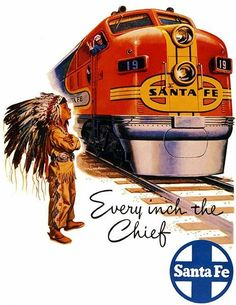 1948 Santa Fe Chief Railroad - Travel Poster #vintageposters