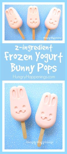 Blend together strawberry yogurt and Cool Whip to make these cute and easy Frozen Yogurt Bunny Pops. Your kids will enjoy these simple-to-make treats for Easter or on a hot summer day. Frozen Desserts, Sweet Desserts, Frozen Treats, Easter Treats, Easter Food, Easter Dinner, Strawberry Yogurt Popsicles, Ice Cream Decorations, Ice Cream At Home