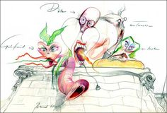Pink Floyd The Wall: First Drawing of Characters   Gerald Scarfe