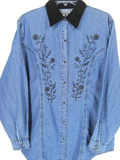 Western Women Denim Shirt Size Petite L Blue Velour Collar. #SolutionsBlues #ButtonDownShirt #Casual