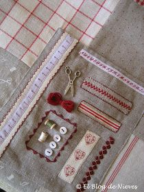 El Blog de Nieves. Labores y Punto de cruz: Una bolsa de costurera Sewing Kit, Love Sewing, Sewing Notions, Embroidery Works, Hand Embroidery, So Creative, Pin Cushions, Dressmaking, Needlework