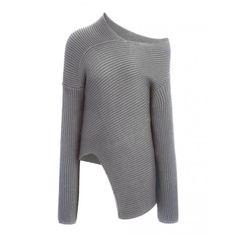 Wool Cardigan Stitch Asymmetric Sweater in Grey Chine
