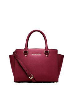 Michael Kors Women's Selma Medium Top Zip Satchel Dark Cherry Red: Handbags: Amazon.com