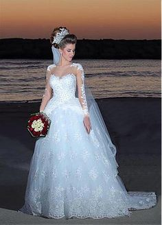 Stunning Tulle Jewel Neckline Ball Gown Wedding Dresses With Beaded Lace…