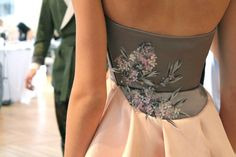 Hand embroidered with laser cut lilacs silk dress from Ulyana Sergeenko Couture Fall-Winter collection. Couture Details, Fashion Details, Russian Love, Ulyana Sergeenko, Fall Winter 2014, Dream Dress, Silk Dress, Fashion Show, Style Inspiration