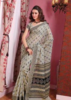 Sarees:R10P321 | Elegant Printed Grey Cotton Saree