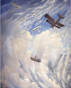War artist C.R.W. Nevinson depicts an air battle involving Canadian air ace, William 'Billy' Bishop. Bishop's plane, with blue, white and red roundel and tail markings, fights at least three German aircraft. Bishop, the second-highest ranking Allied ace of the war, was credited with the destruction of 72 enemy aircraft.  War in the Air Painted by Christopher Richard Wynne Nevinson Beaverbrook Collection of War Art