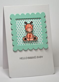 handmade baby card ... luv the frame created with two die cuts ... cute stuffed giraffe image ...