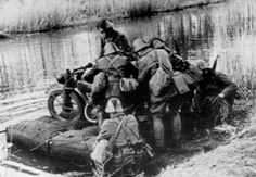 Motorcycles on War.motorcycle crossing over the river on a raft Sidecar, Ww2 Pictures, British Motorcycles, War Dogs, East Indies, Over The River, German Army, North Africa, Military History