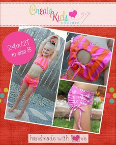 This fun dancewear set is perfect for dance and gymnastics practice, or even your next competition! Featuring a sassy cinched back cutout and cinched shorts, you'll be whipping a ton of these for your little dancers and gymnasts! This pattern must be made using a spandex or lycra fabric only for the perfect fit and stretch.