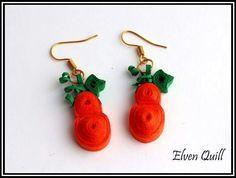 Halloween pumpkins - quilling earrings by Elven Quill www.facebook.com/elven.quill