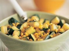 Zucchini with Corn and Cilantro - Prep: 6 minutes; Use this vegetable medley as a fresh substitute for salsa or guacamole salad on a Tex-Mex fiesta plate.maybe as a topping for salad also :-) Delicious Vegan Recipes, Vegetarian Recipes, Cooking Recipes, Yummy Food, Tasty, Healthy Recipes, Cilantro Recipes, Corn Recipes, Vegetable Recipes