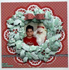 Oct 2014 Kaisercraft Santa Wreath by Colette Mitrega pixels Scrapbook Blog, Scrapbooking Layouts, Scrapbook Cards, Santa Wreath, Christmas Cards, Xmas, North Pole, Olympus, Digital Camera