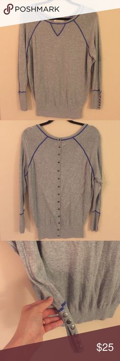"""RUBY MOON Lightweight Sweater EUC!! Lightweight grey sweater with blue contrast thread detail and rivets at cuffs and down center back. Effortless chic!! Laid flat chest measures 20"""", length from shoulder to hem is 27"""". Anthropologie Sweaters Crew & Scoop Necks"""