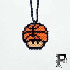 Basketball Super Mario Mushroom Perler Bead Sprite Necklace by Pixelatory