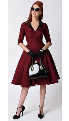 Unique Vintage 1950s Burgundy & Black Dot Sleeved Eva Marie Swing Dress