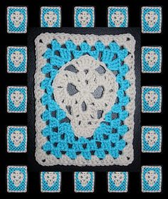 My new skull pattern - Skull Nouveau - American English USA made...EASY to make basic stitches.  Applique or Granny Rectangle plus flower patterns for Sugar Skull instructions included