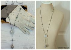 Vintage Rhinestone and Glass Bead One of a Kind Necklace...Downton Inspired 13