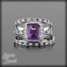 WOW!  3 Ring Amethyst Wedding Set - Emerald Cut Amethyst with alternating gems - LS1223. $3,577.50, via Etsy.