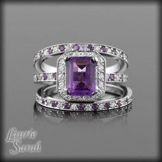 3 Ring Amethyst Wedding Set Emerald Cut With Alternating Gems Purple