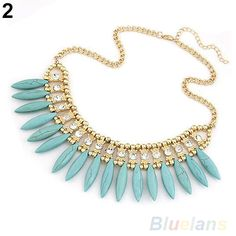 Specifications: Condition: New and High Quality Theme: Beauty Material: Turquoise + Crystal (No Lead, Nickel Free, Cadmium Free) Color: White, Blue, Rose Red, Yellow Package Included: 1 x Neckace (You Choose Color)