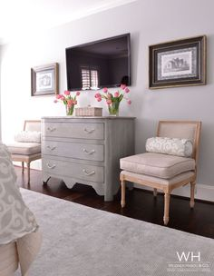 Memorial Transitional - Gray cabinet, old fashioned chairs and pillows, framed photos