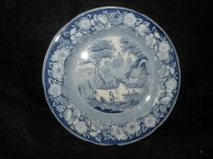 ANTIQUE STAFFORDSHIRE TRANSFERWARE WILD ROSE PLATE 9.25