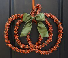 Pumpkin Wreath - Fall Wreath - Berry Wreath - Halloween Wreath - Choose Bow - Ready To Ship