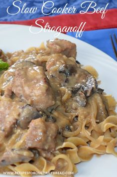 This Slow Cooker Beef Stroganoff is so moist, tender and full of flavor. This crock pot version makes the meat so tender you can tear it apart with a fork.