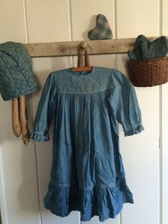 Aafa Early Primitive Prairie Farm Blue Calico Child's Childrens Textile Dress