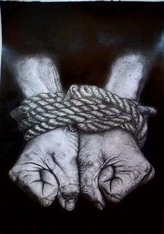 hands tied drawn in pencil Emotional Photography, Dark Photography, Photo Main, Rope Drawing, Mental Health Art, Music Drawings, Expressive Art, A Level Art, Spiritism