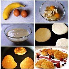 Panquecas com apenas 2 ingredientes? Super fáceis e rápidas de fazer, são ótimas para um lanche ou pequeno almoço. 3 Panquecas: 2 ovos médios batidos + 1 banana esmagada com a ajuda de um garfo (ou...