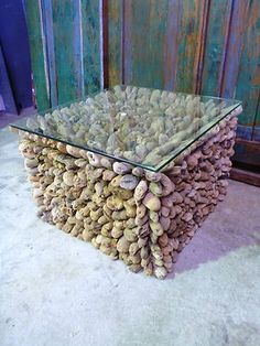 Balinese Mosaic Drift Wood Log Wooden Low Coffee Lamp Table Glass Top
