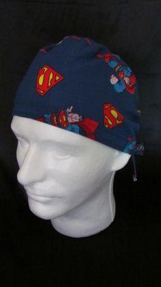 Superman Clark Kent DC Comics Tie Back Surgical Scrub Hat by TipTopLids on Etsy