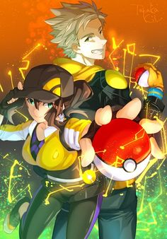 """""""Hey there we are the trainers of these pokemon I'm Kenna and this is Spark the leader of team instinct"""" Touko Pokemon, Oc Pokemon, Gijinka Pokemon, Pokemon Fan Art, Cute Pokemon, Character Inspiration, Character Art, Character Design, Pokemon Go Teams Leaders"""