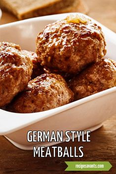 While we usually associate meatballs with Italian dishes, international cuisines have their own savory versions. I remember my Oma (Grandma) preparing yummy German-style meatballs that often graced her holiday table. In honor of Oma, I am sharing my modernized version loaded with beef, pork, and aromatic herbs & spices. German Meatballs Recipe, Meatball Recipes, Steak Recipes, Gourmet Recipes, Mexican Fried Rice, Swiss Chard Salad, Bbq Pork Sandwiches, Sesame Beef, Chicken Rice Bowls