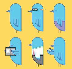 Twitter birds, illustration by Bram van Rijen