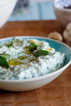 Tzatziki. Made with cucumber, greek yogurt, mint leaves, olive oil, & garlic.