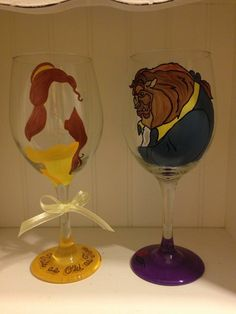 Beauty and The Beast hand painted wine glasses