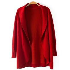 Red Long Sleeve Shawl Collar Knitting Open Cardigan ($32) ❤ liked on Polyvore featuring tops, cardigans, jackets, long sleeve open cardigan, long sleeve tops, shawl collar open front cardigan, red top and red cardigan