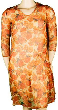 1920s Large Dress Silk Crepe Chiffon Sheer Floral Orange Autumn Plus Size Flapper Gatsby Deco Roaring Twenties Fall Wedding Bridesmaid Bride
