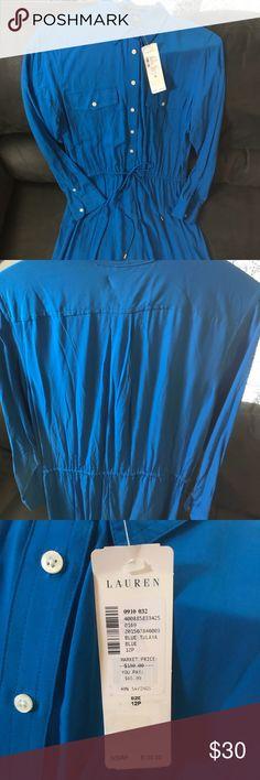 NWT Ralph Lauren shirt dress - 12P Beautiful blue shirt dress. 100% Viscose fabric- extremely comfy and light. Drawstring cinch waist. Lauren Ralph Lauren Dresses Long Sleeve