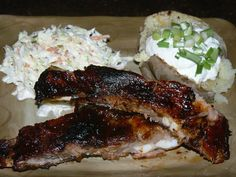 Barbecue Ribs, Creamy Cole Slaw, and Baked Potato with Sour Cream and Scallions | Yelp