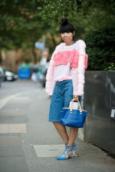 Susie Bubble Wearing Chanel denim shorts, Somewhere Nowhere fluffy sweater, Christopher Kane belt, Sophia Webster shoes, Chloe bag #susielau #stylebubble