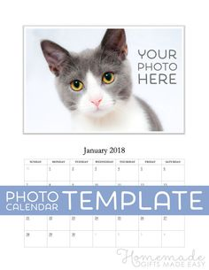 Free Photo Calendar Template - Use Microsof Word to make a personalized photo calendar