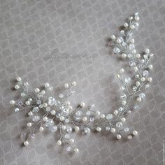 Купить Свадебное украшение для прически невесты жемчужно-кристальное - свадьба, невеста, свадебные аксессуары
