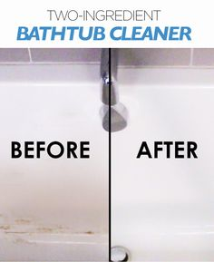 Spend Less Time Scrubbing With This Bathtub Spray . using vinegar & dish soap in a spray bottle, spray mixture onto dirty bathtub, let sit 30 minutes, wipe & rinse clean . Cleaning Spray, Household Cleaning Tips, House Cleaning Tips, Spring Cleaning, Bathroom Cleaning Tips, Shower Cleaning, Mattress Cleaning, Homemade Cleaning Products, Cleaning Recipes