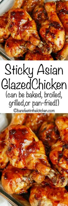 This Sticky Asian Chicken is an EASY 4 ingredient recipe that is going to rock your weeknight dinners. Salty soy sauce, sweet brown sugar, and spicy garlic chili paste combine to make one of the easiest Asian-inspired marinades you can imagine. Asian Chicken Recipes, Asian Recipes, Easy Dinner Recipes, Easy Meals, Simple Recipes, Glazed Chicken, Chicken Legs, Chicken Chili, Comfort Food