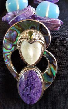 Vintage Sajen Goddess Necklace Amethyst Charoite Cabochon Peridot Mother Pearl #Sajen